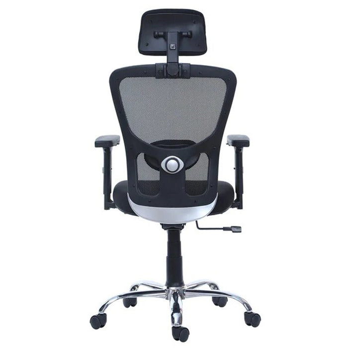 High Back Office Chair Adjustable Arms AMU HB Metal Chrome Base