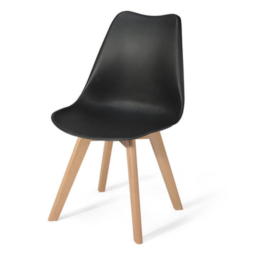 Plastic Cafeteria Chair with Wooden Legs ZETA