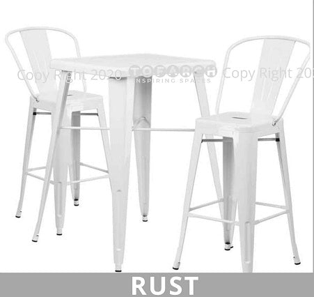 BEST DESIGNER RUST HIGH TABLE WITH STOOLS