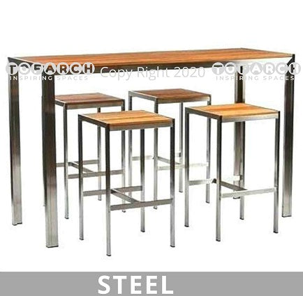 BUY ONLINE STEEL HIGH TABLE WITH STOOLS