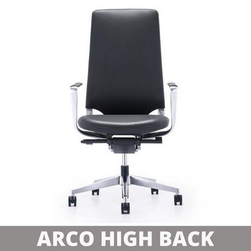 ARCO High Back Office Chair with Leather Back and Seat