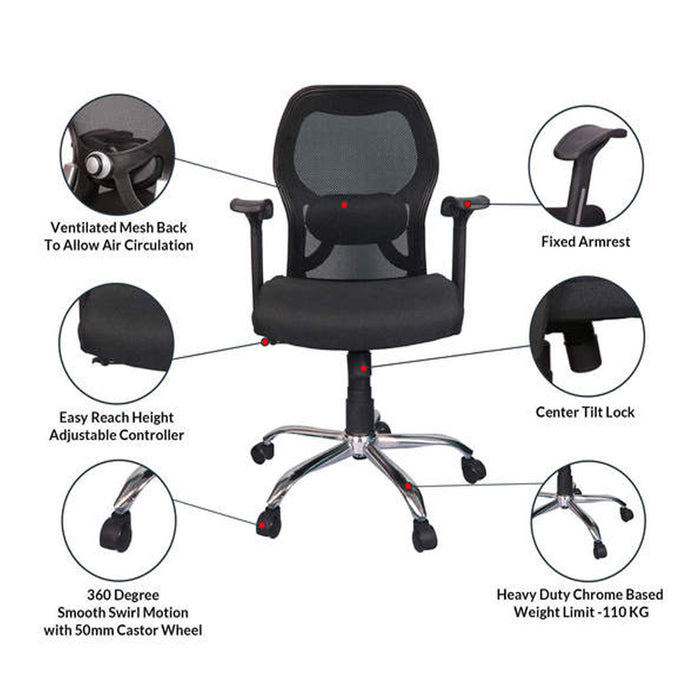 Ergonomic Office Chair with Lumbar Back Support for Home or Office Hyde Metal MB