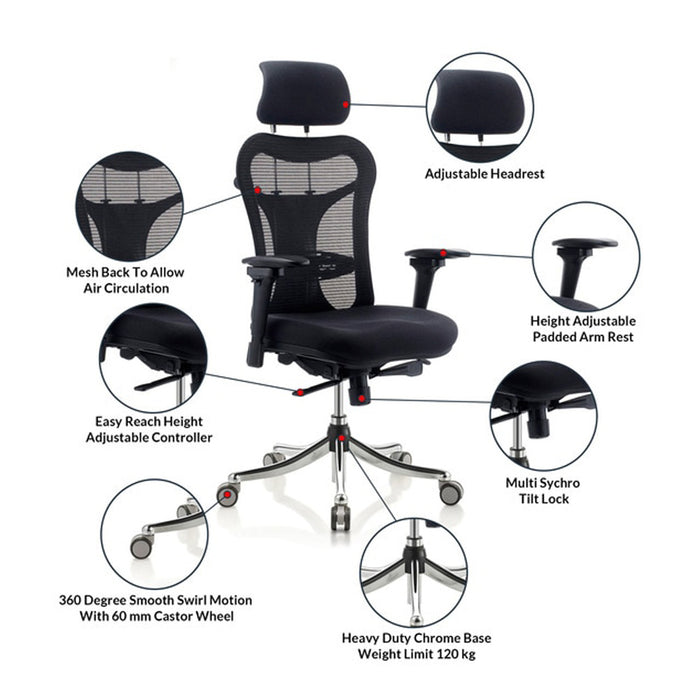 High Back Office Chair for Executives and Managers Feat HB