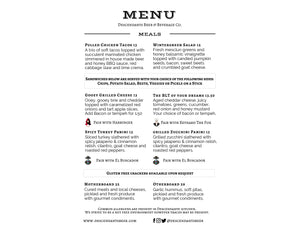 Descendants brewery meals menu, pulled chicken tacos, wintergreen salad, gooey grilled cheese, B.L.T., spicy turkey panini, grilled zucchini panini, motherboard, otherboard