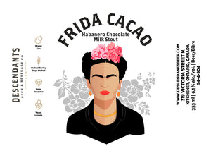 Frida Cacao Milk Stout label, drink local beer