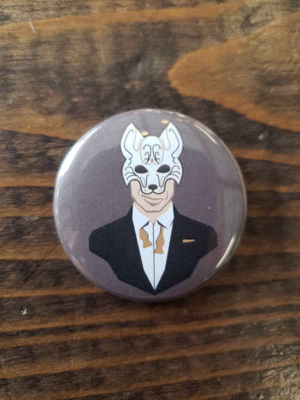 Reynard the fox button from a brewery near you