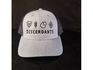 Grey snapback hat with Descendants and ingredients embroidered with black string