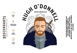 Hugh O Donnell Irish can label with Descendants Brewery logo