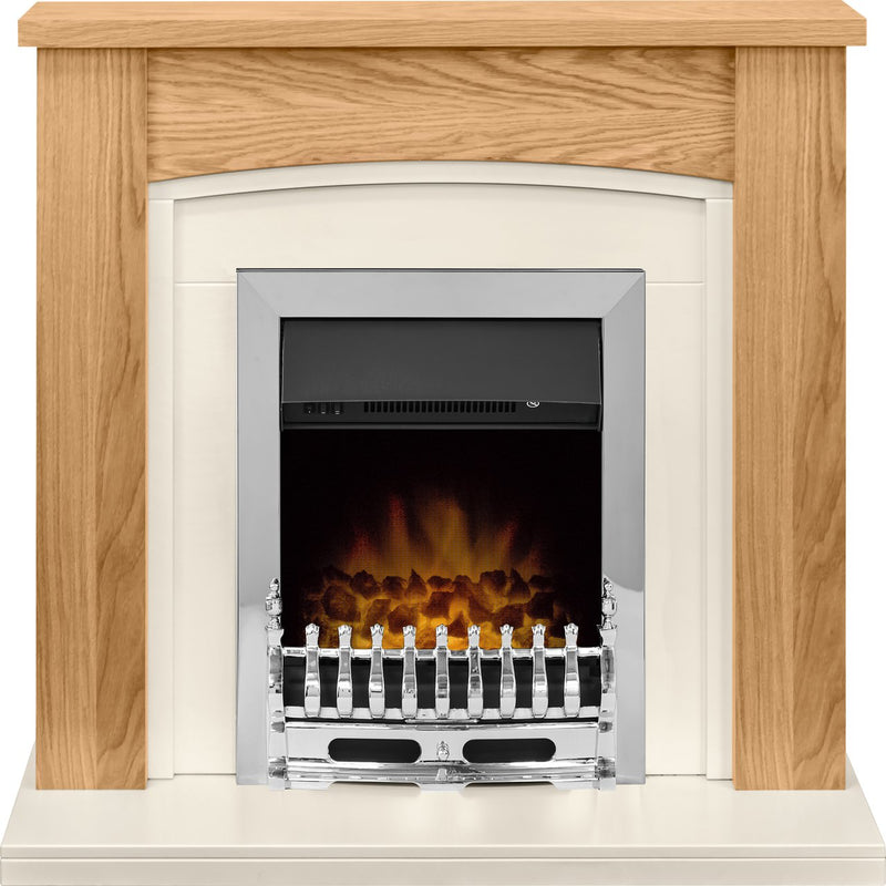 Adam Fires Chilton Suite with Blenheim Electric Fire 21876 Coal Bed Suite And Surround Fireplace - Oak