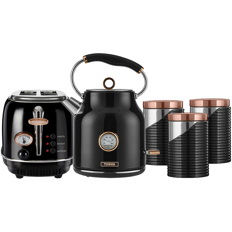 Tower AOBUNDLE005 Kettle And Toaster Sets - Black / Rose Gold