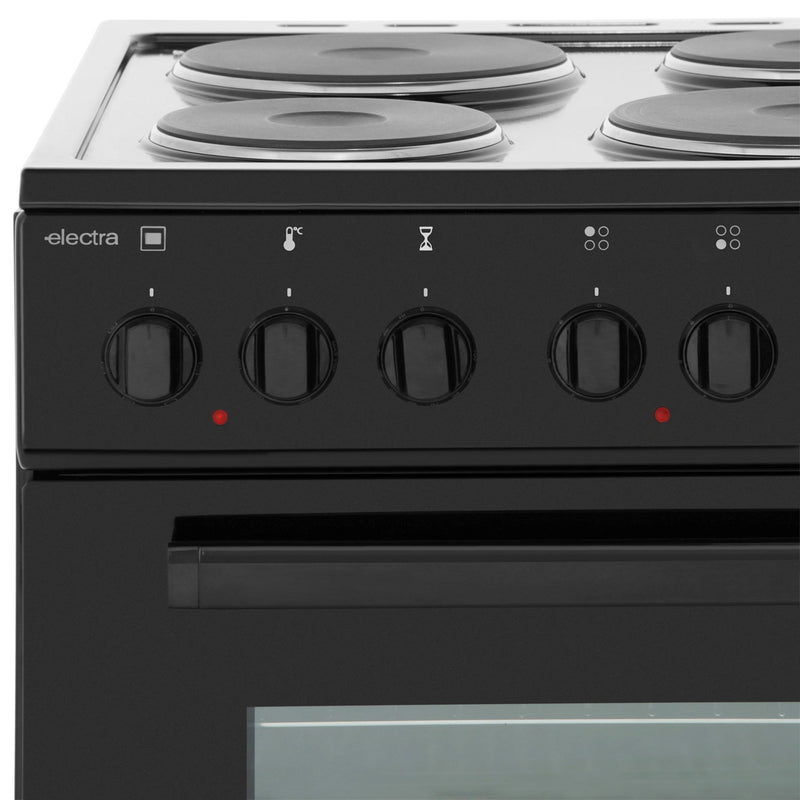 Electra SE50B 50cm Electric Cooker with Solid Plate Hob - Black - A Rated