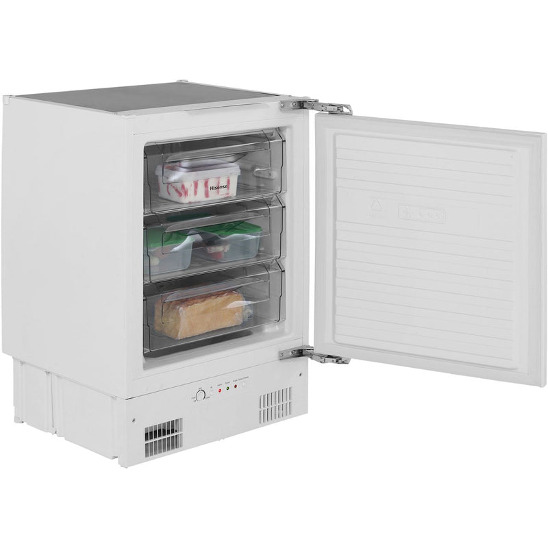 Hisense FUV126D4AW11 Integrated Under Counter Freezer with Fixed Door Fixing Kit - A+ Rated