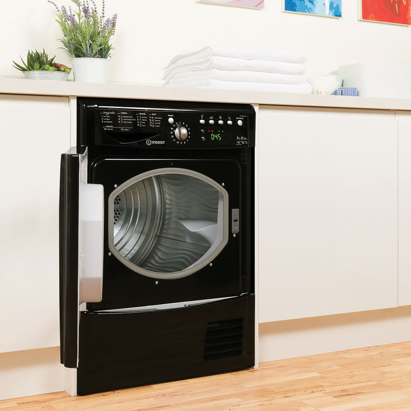Indesit Eco Time IDCE8450BKH 8Kg Condenser Tumble Dryer - Black - B Rated