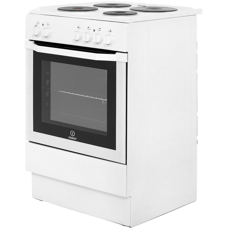 Indesit I6EVAW 60cm Electric Cooker with Solid Plate Hob - White - A Rated
