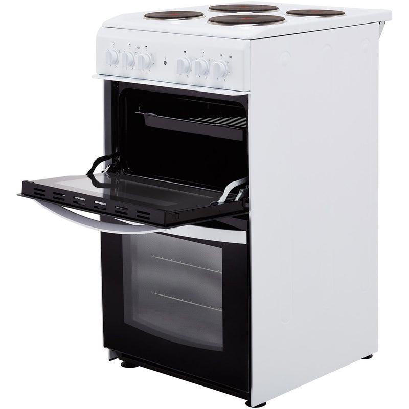 Indesit Cloe ID5E92KMW 50cm Electric Cooker with Solid Plate Hob - White - A Rated