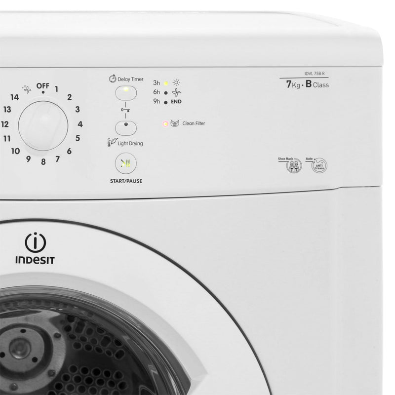 Indesit Eco Time IDVL75BRK 7Kg Vented Tumble Dryer - Black - B Rated