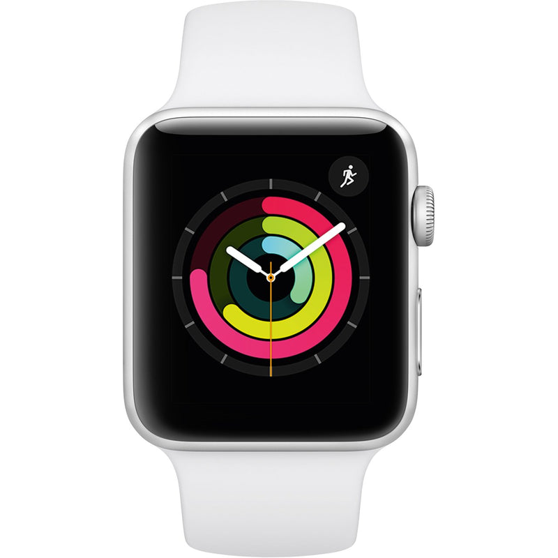 Apple Watch, Series 3, 42mm, GPS [2017] - Silver / White Aluminium Case with White Sport Band
