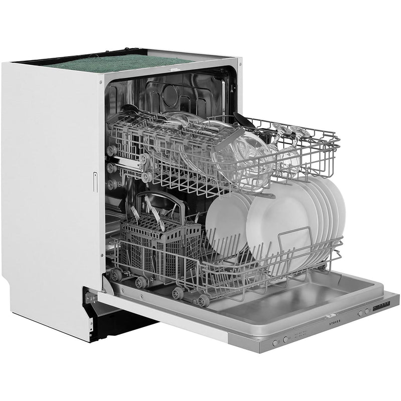 Stoves SDW60 Fully Integrated Standard Dishwasher - Silver Control Panel with Fixed Door Fixing Kit - A++ Rated