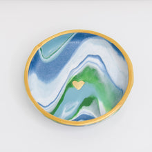 Load image into Gallery viewer, Muted Swirl Golden Heart Clay Dish