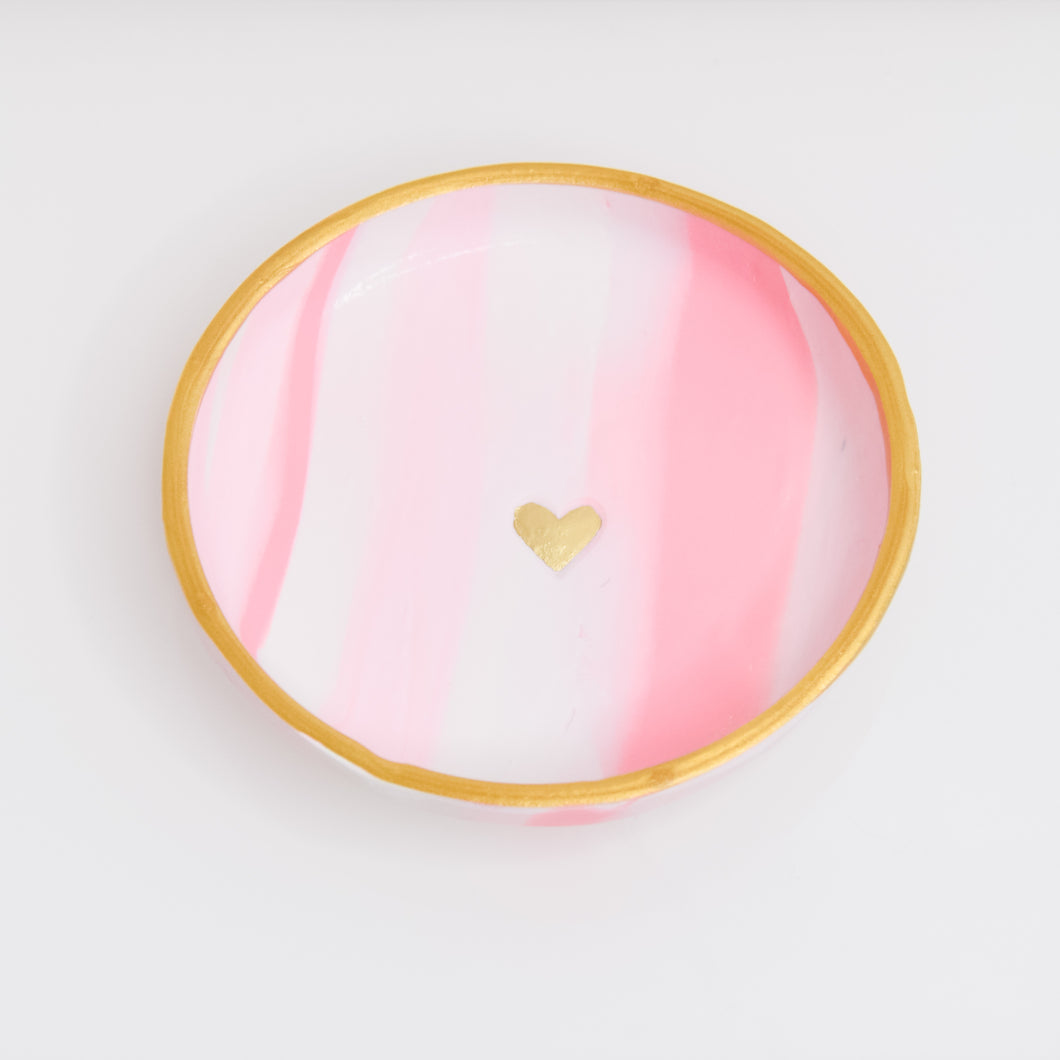 Pink Swirl Golden Heart Clay Dish