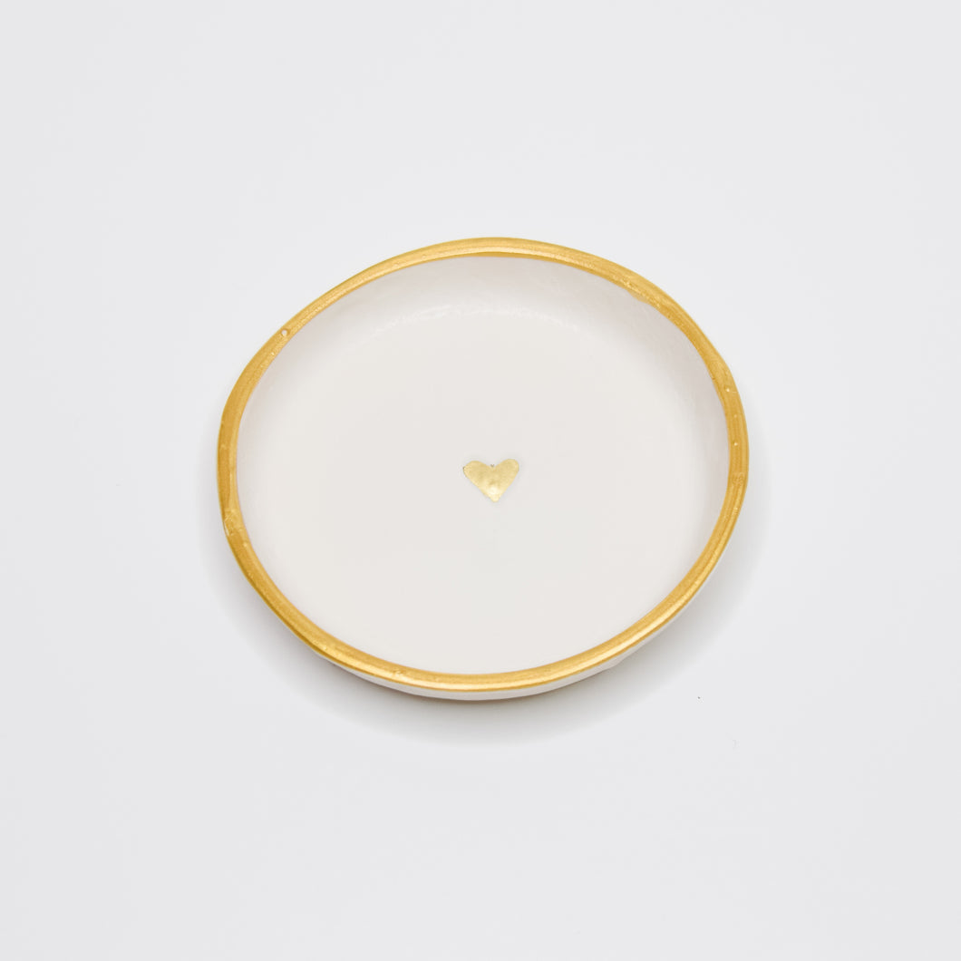 White and Golden Heart Clay Dish