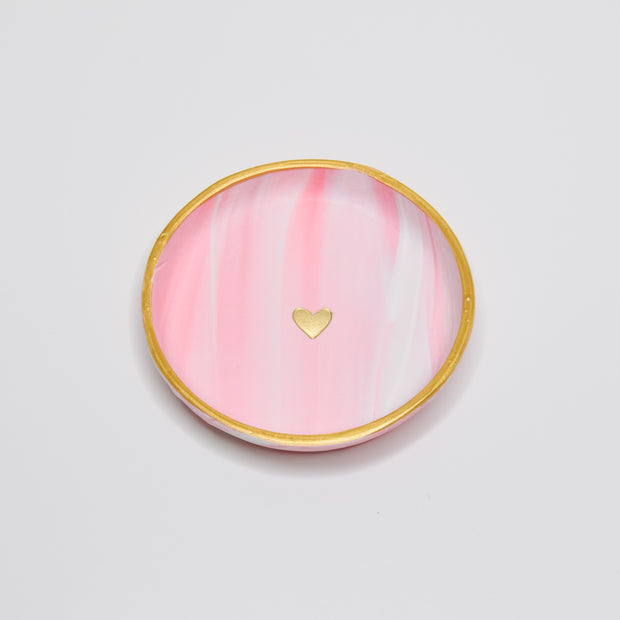 Pink Swirl Golden Heart Clay Dish 1