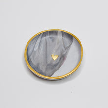 Load image into Gallery viewer, Marble Swirl Golden Heart Clay Dish