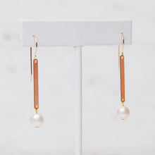 Load image into Gallery viewer, Bar and Pearl Earrings - Gold