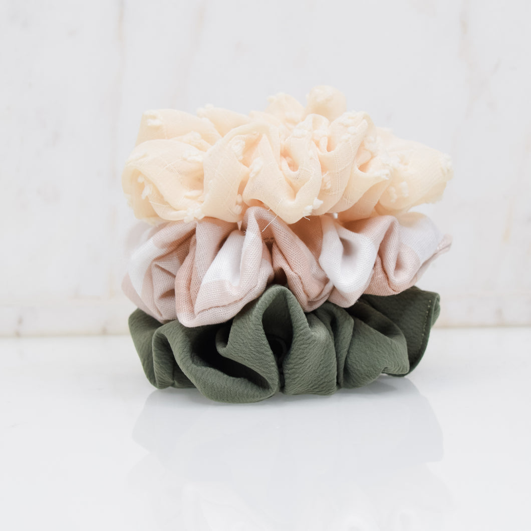 Olive Blush Scrunchie Pack