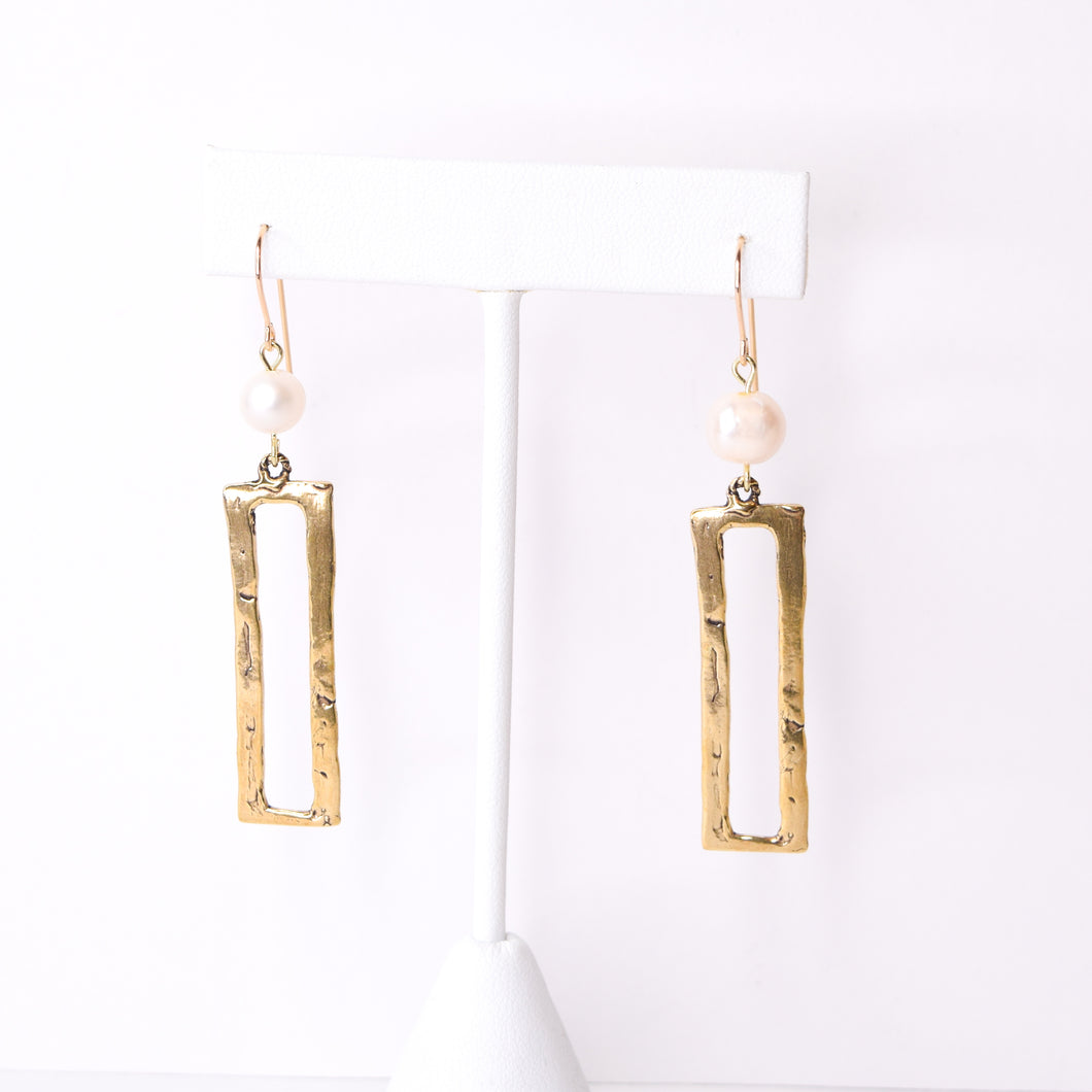 Pearl & Rectangle Earrings