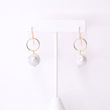 Load image into Gallery viewer, Pearl and Gold Circle Earrings