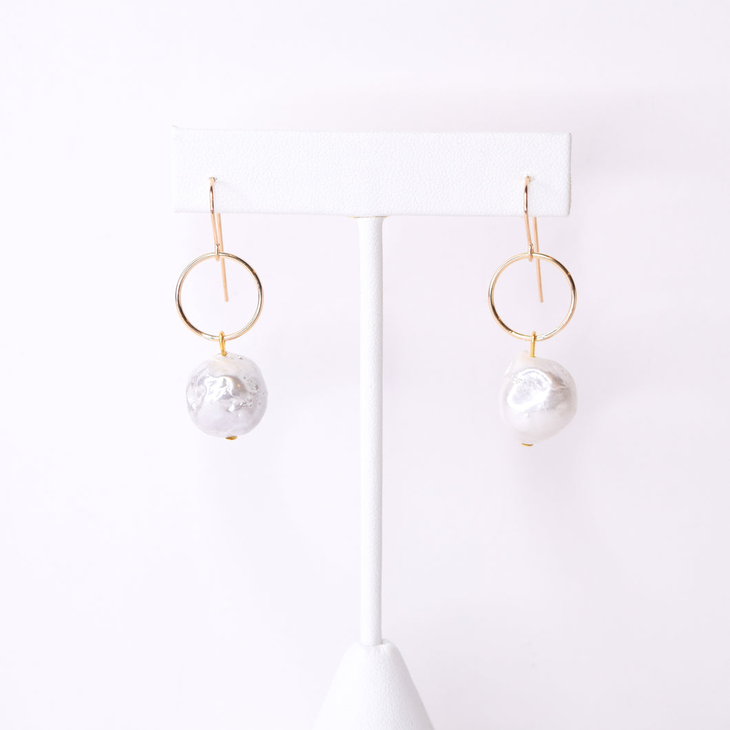 Pearl and Gold Circle Earrings
