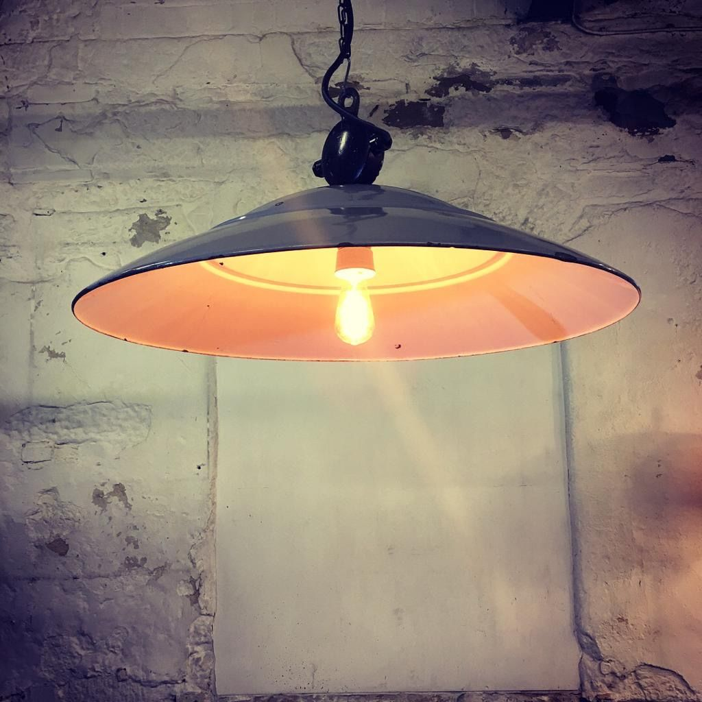 1920's Philips Grey Enamel Industrial Pendant Light