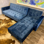 Load image into Gallery viewer, Petrol blue velvet sofabed