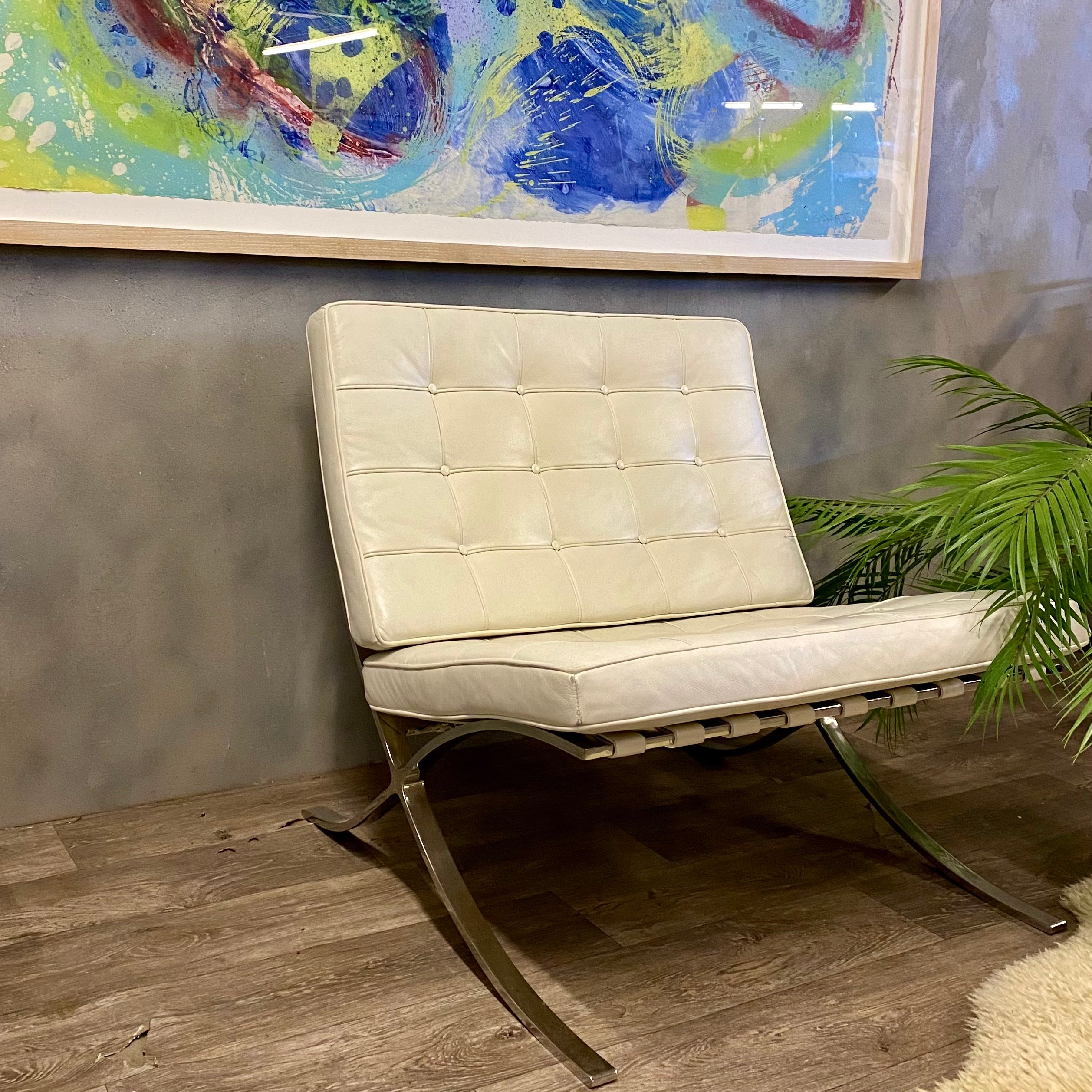 Barcelona Chair Style White Leather