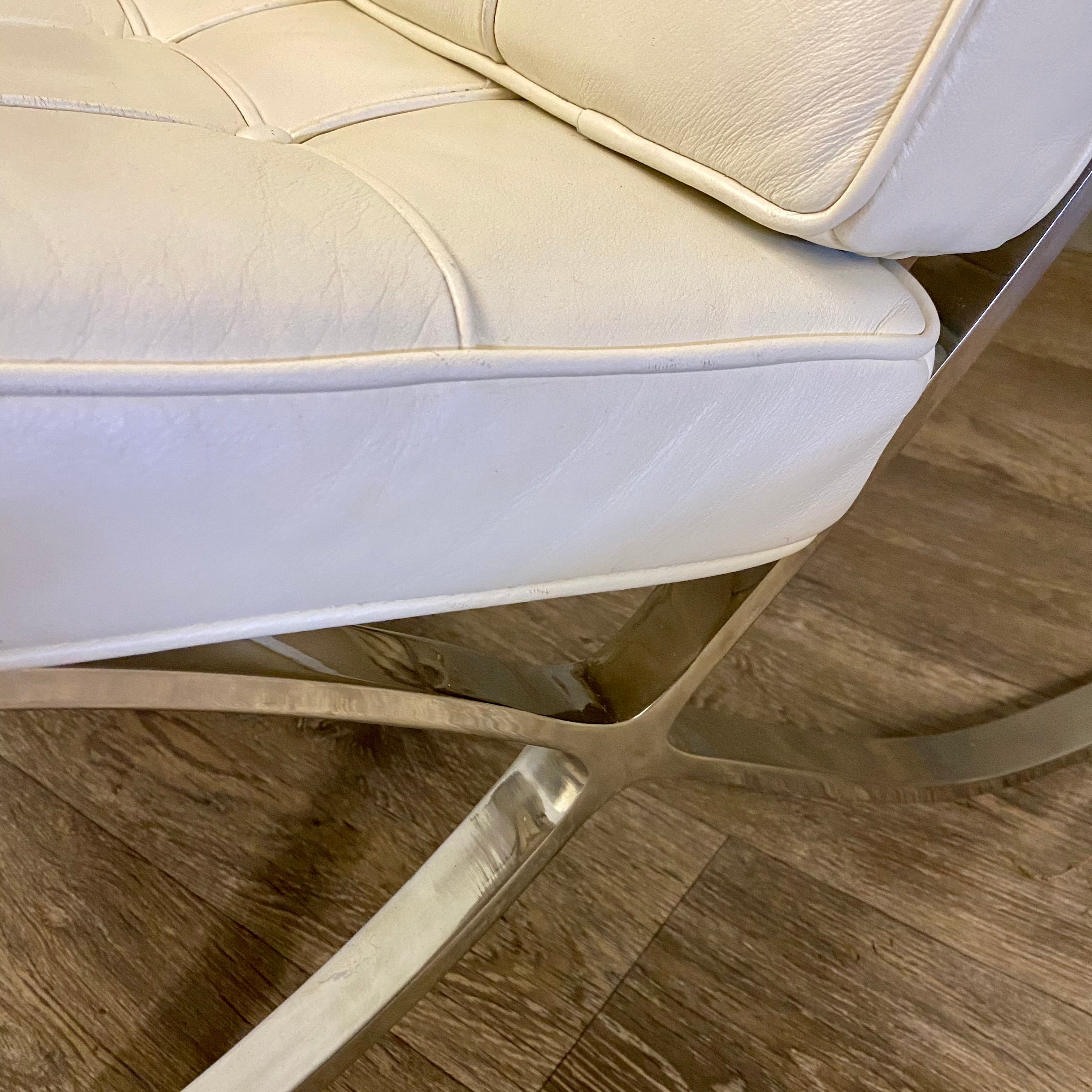 Leather and chrome lounge chair