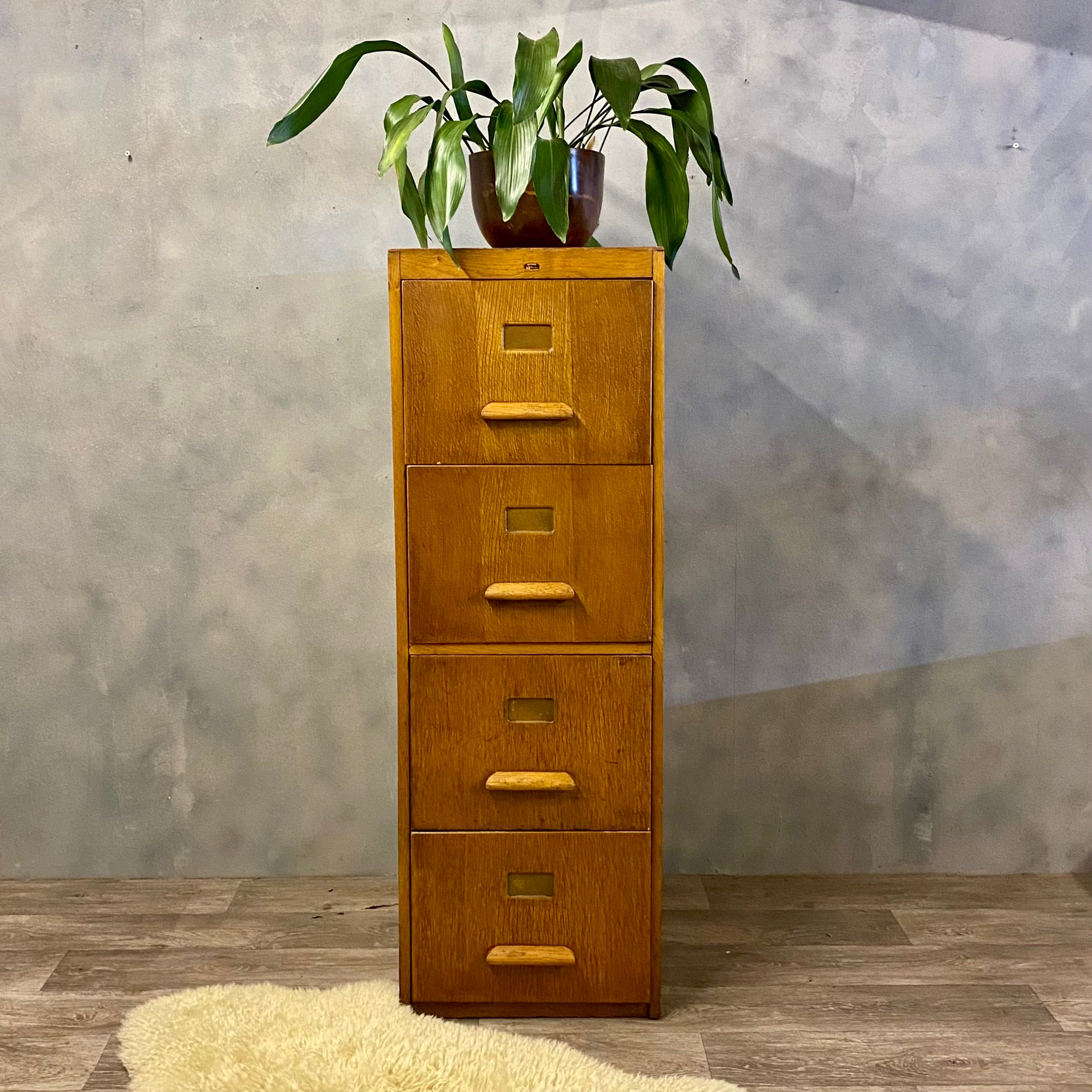 Midcentury Filing Cabinet In Plywood And Oak