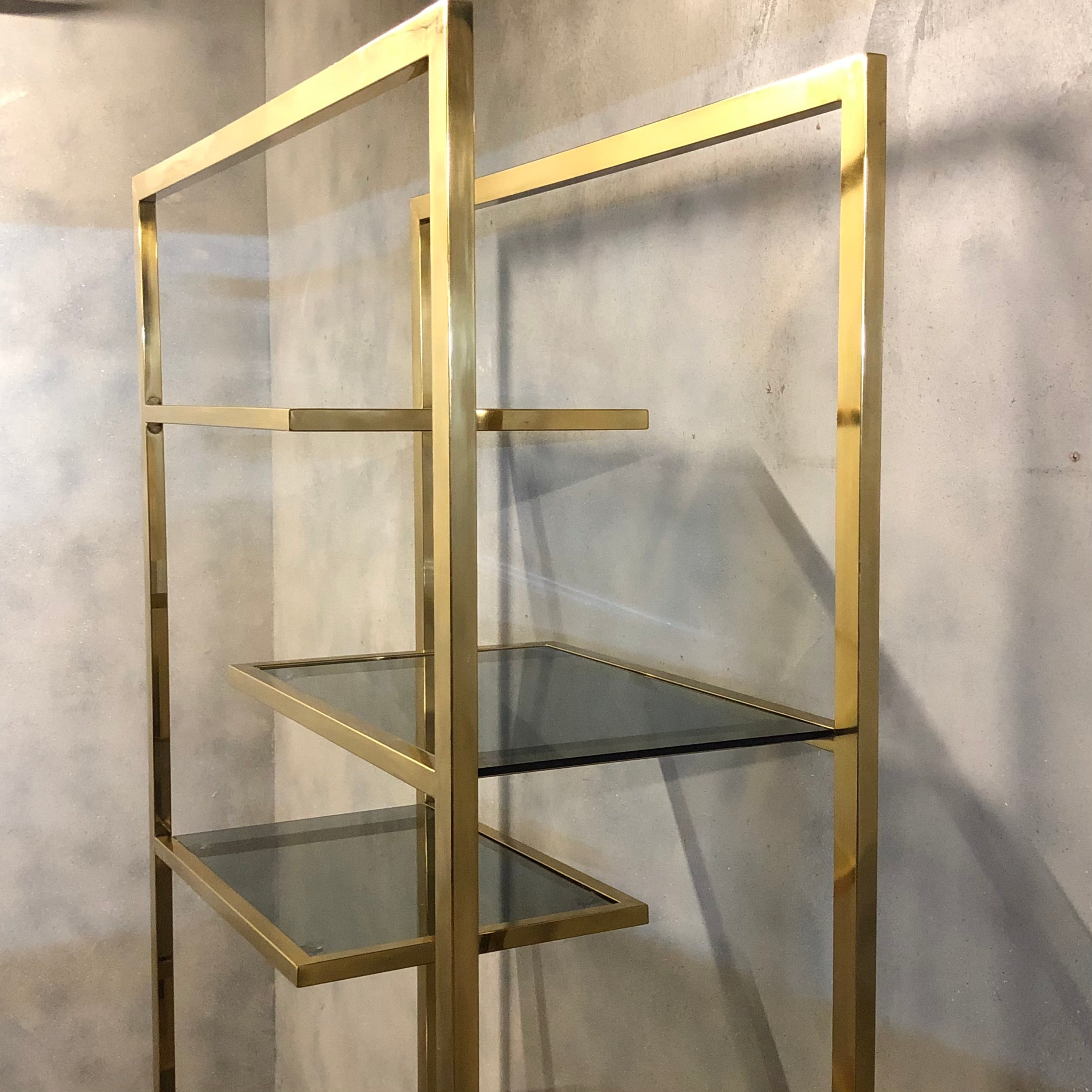 Wall shelving smoked glass and steel