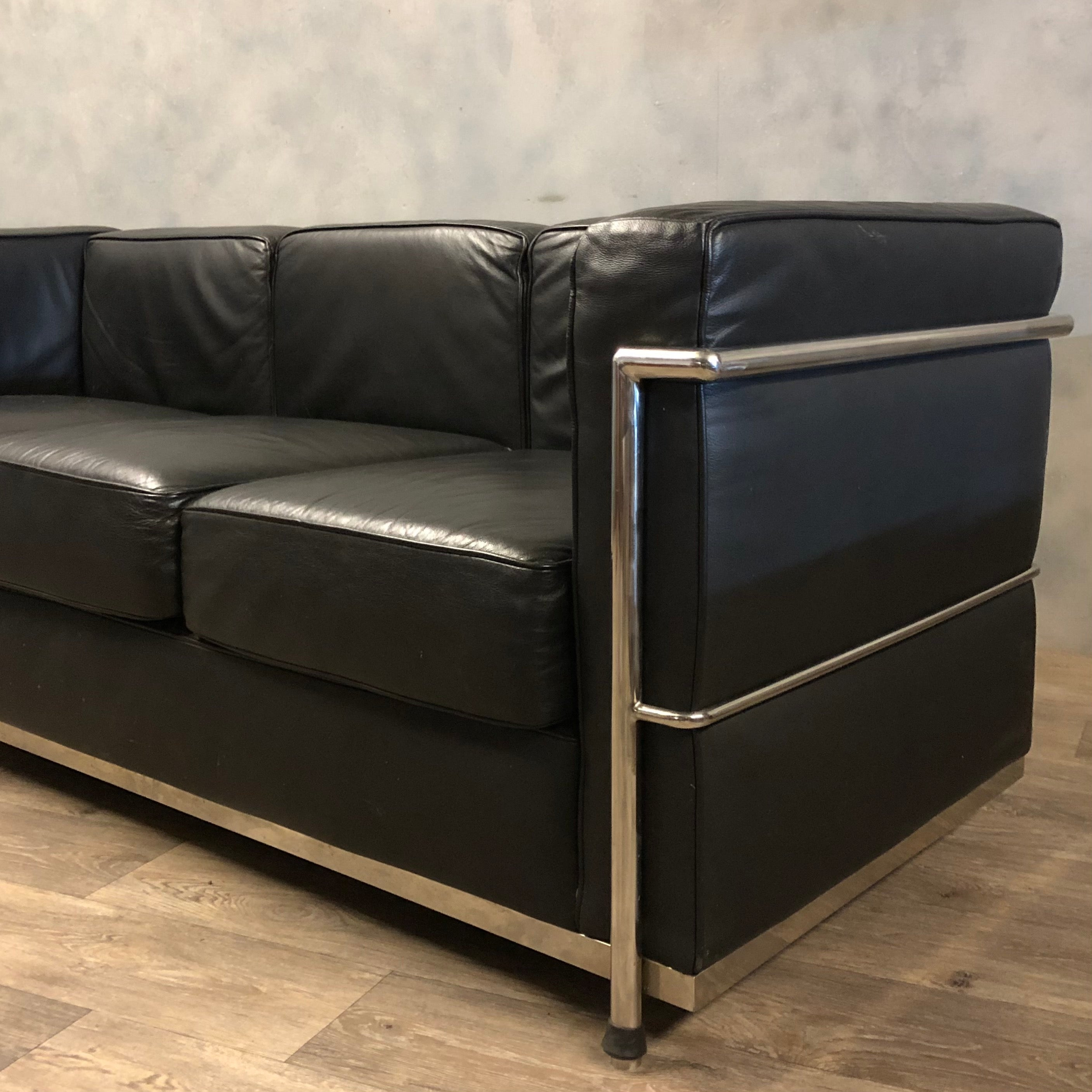 Chrome and leather vintage sofa