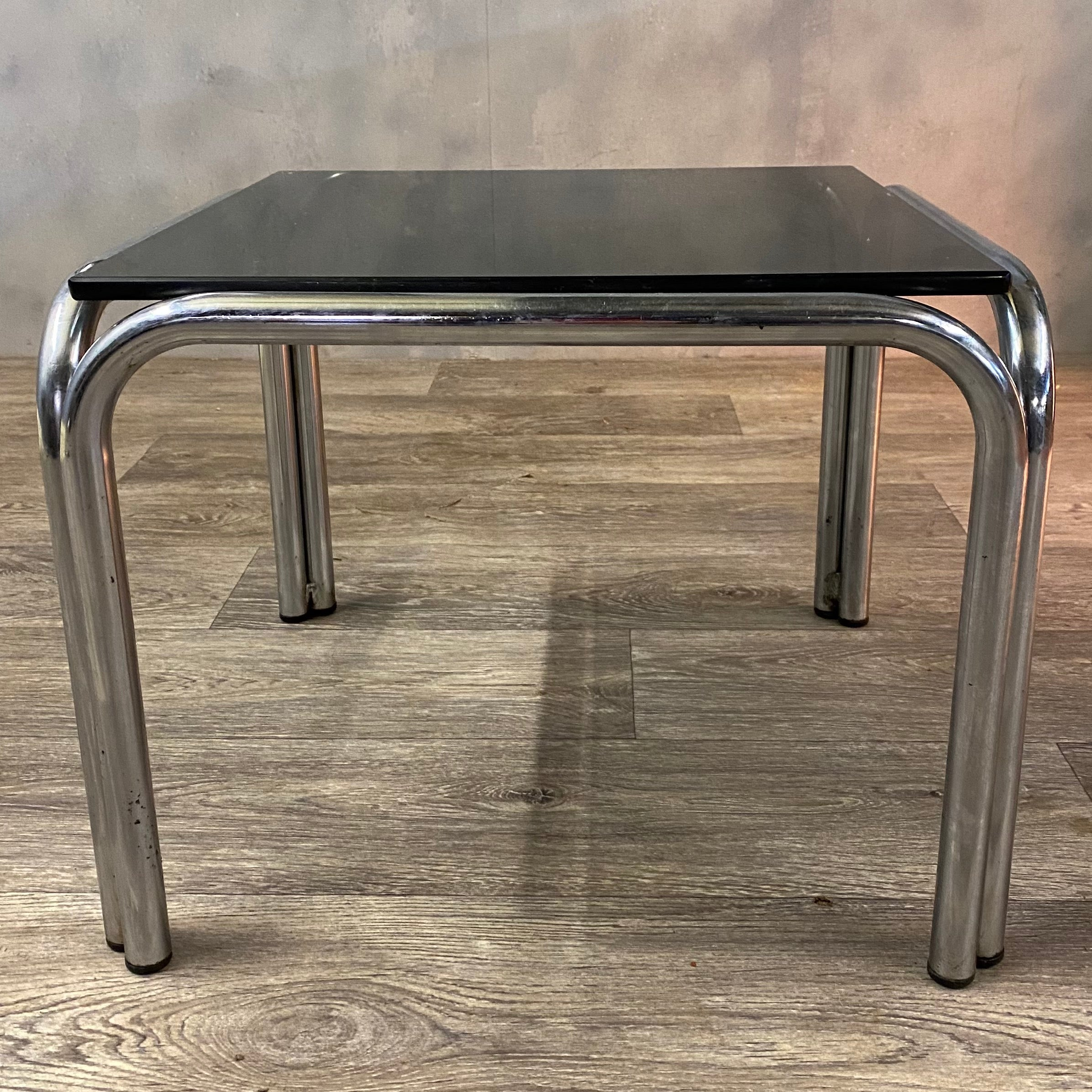 1970s coffee table glass chrome