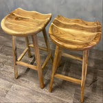 Load image into Gallery viewer, Stool Solid Acacia Moulded Height 76cm