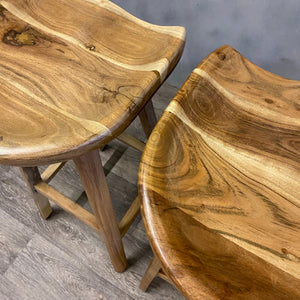 Pair acacia stools Kitchen Island