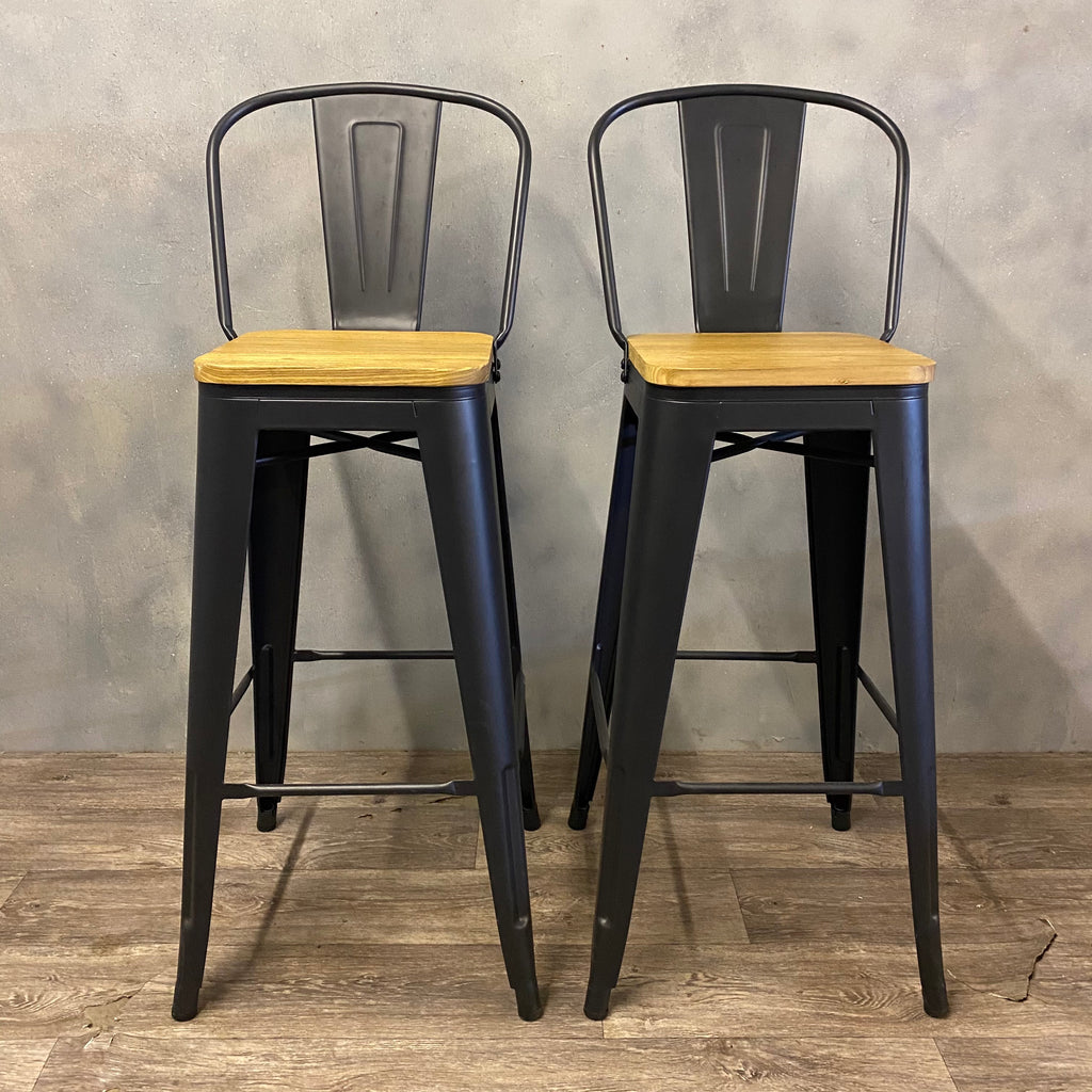 Stools Timber & Steel Industrial Style Height 76cm