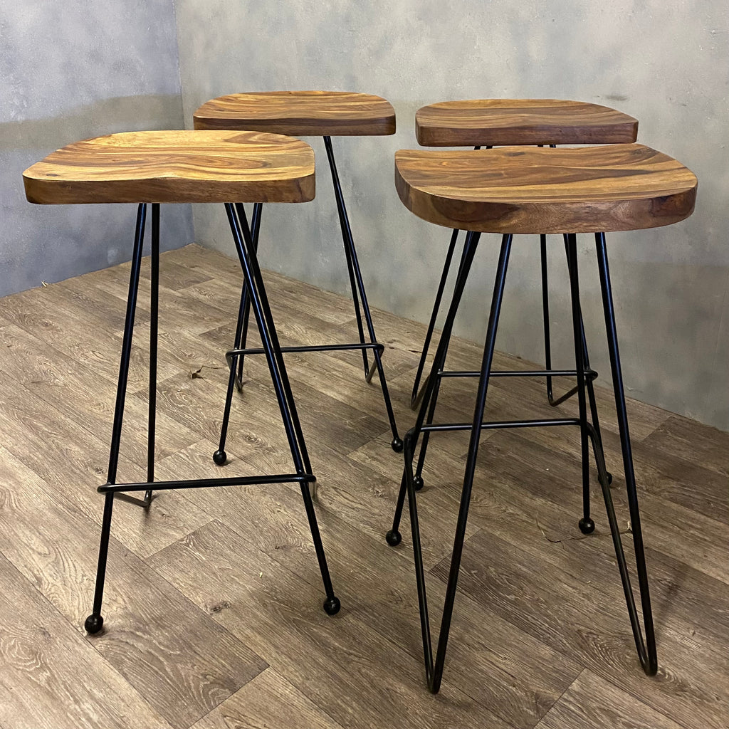 Stool In Acacia & Steel Height 71cm