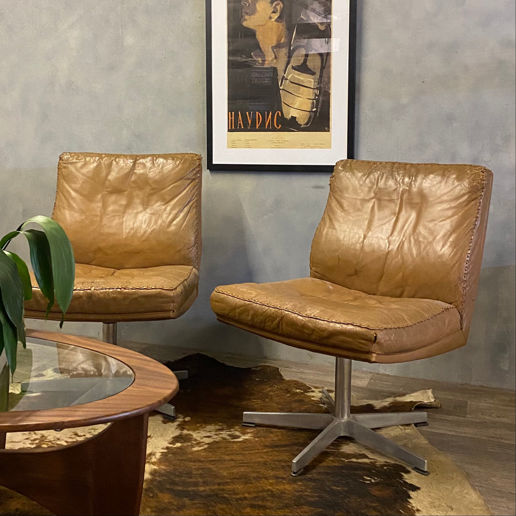Midcentury Swivel Chairs Brown Leather