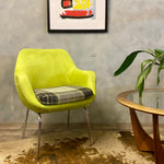 Load image into Gallery viewer, Faux Suede & Tartan Occasional Lounge Chair