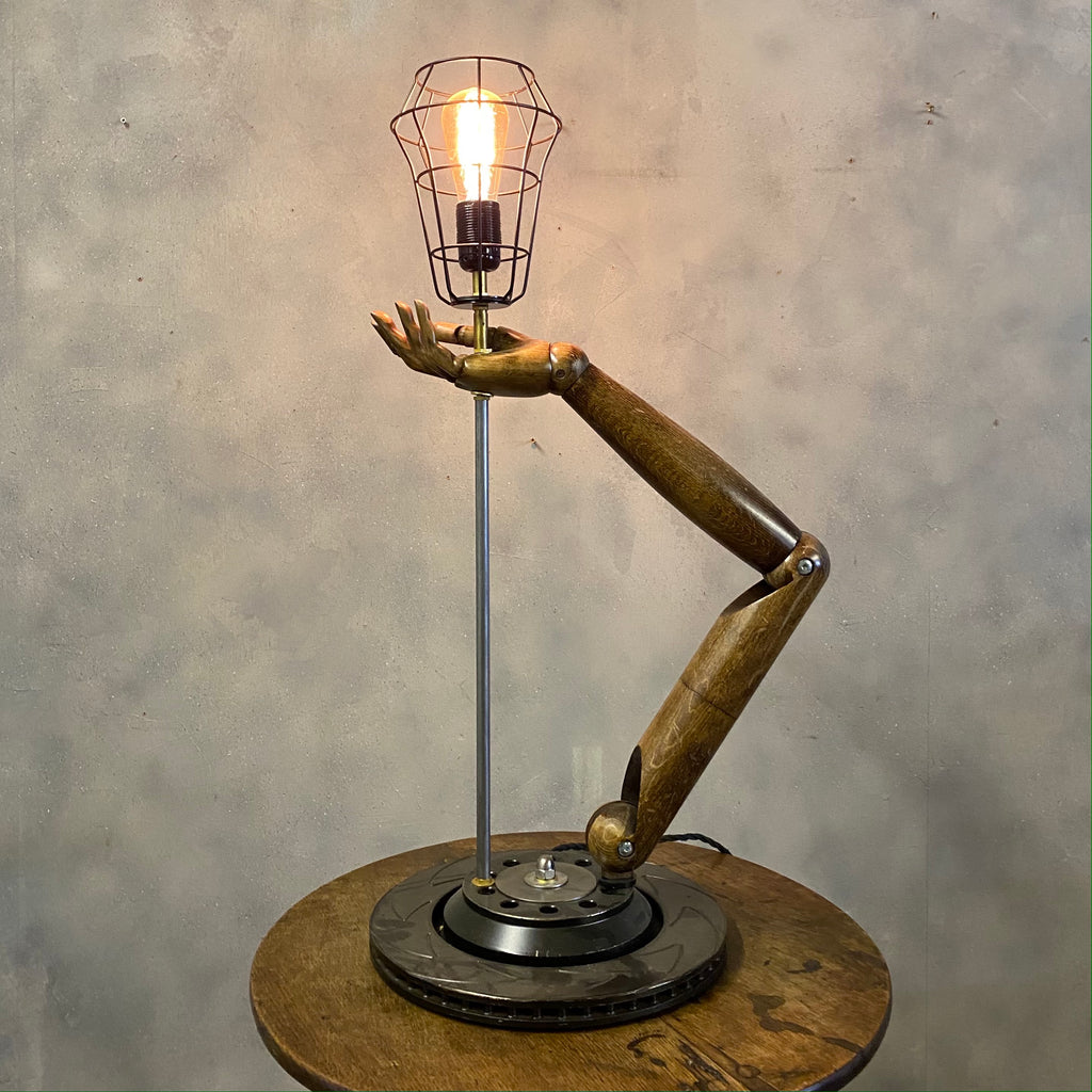 Vintage Desk Lamp Wood & Steel