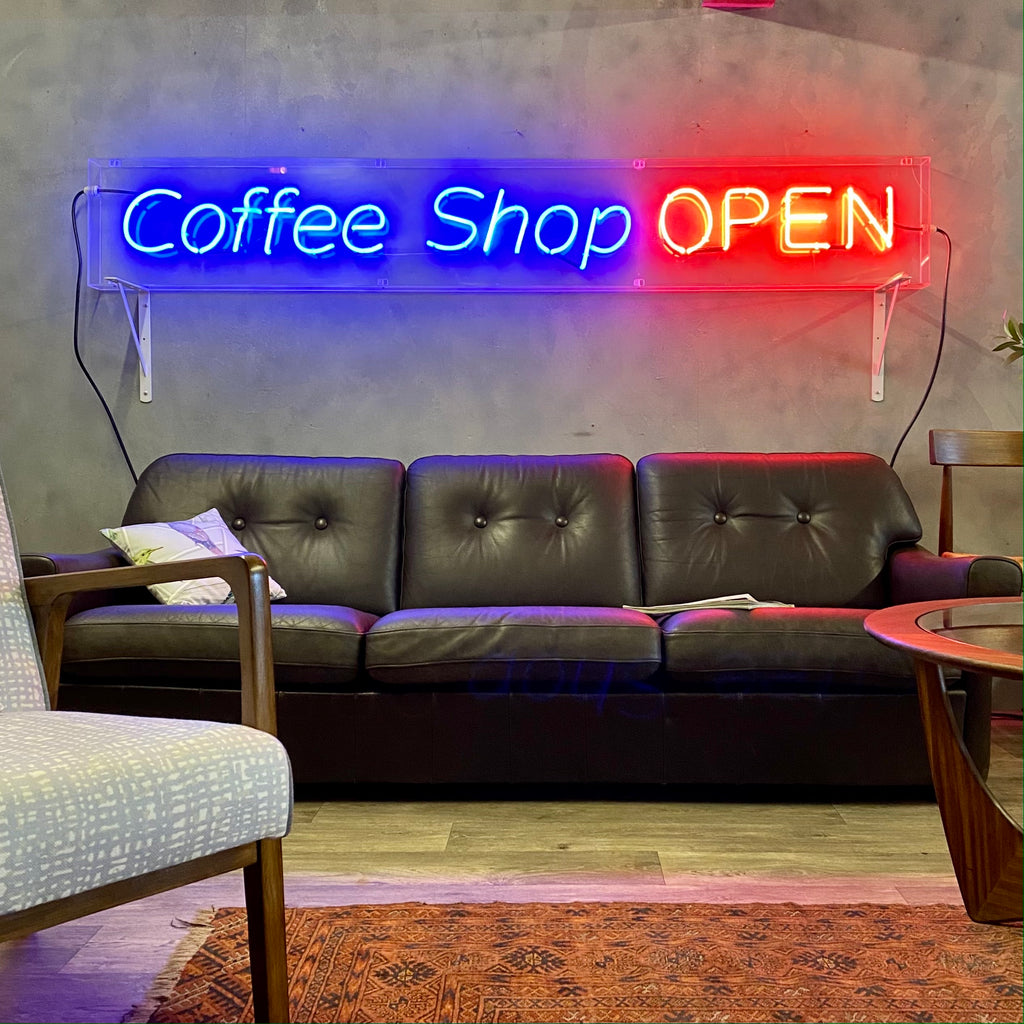 Neon Coffee Shop Open Vintage