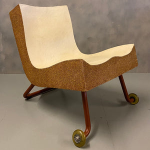 Designer Chair Midcentury Cork & Leather
