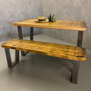 Reclaimed Dining Table & Bench Industrial